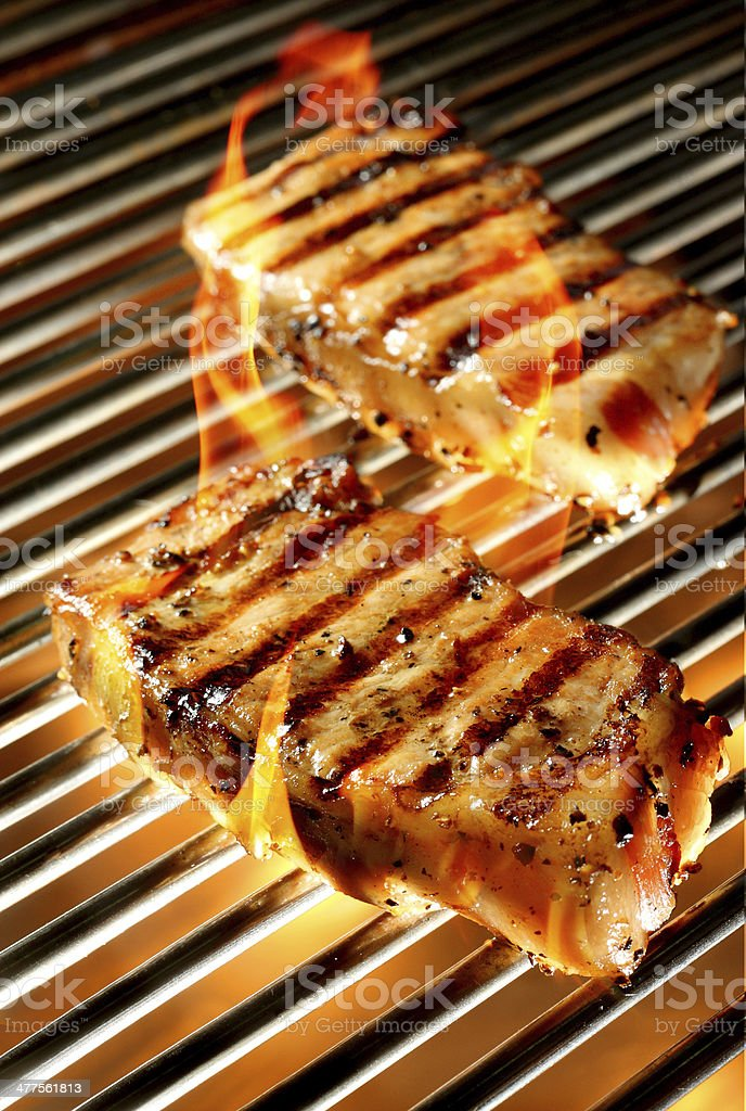 Grilled pepper pork chop royalty-free stock photo