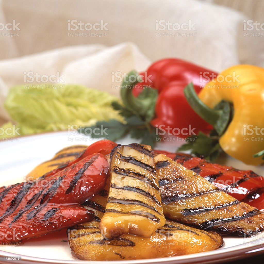 Grilled peppers stock photo