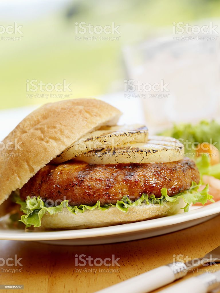 BBQ Grilled Pineapple Burger royalty-free stock photo