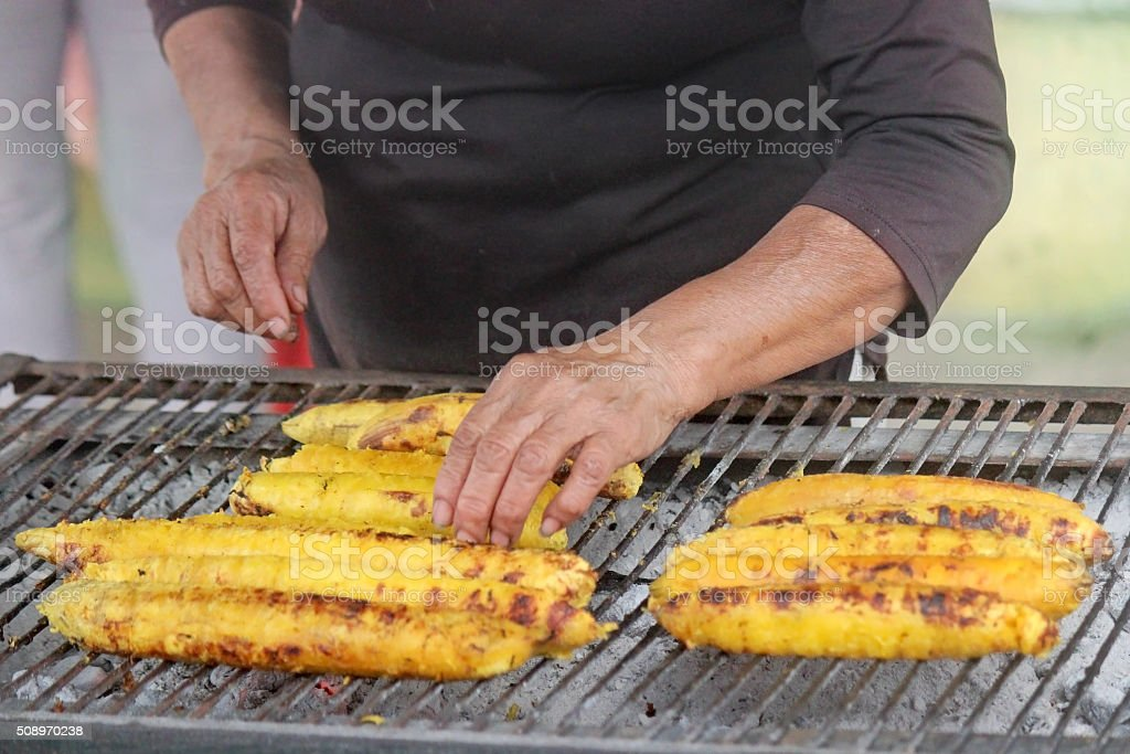 Grilled Plantain Bananas stock photo
