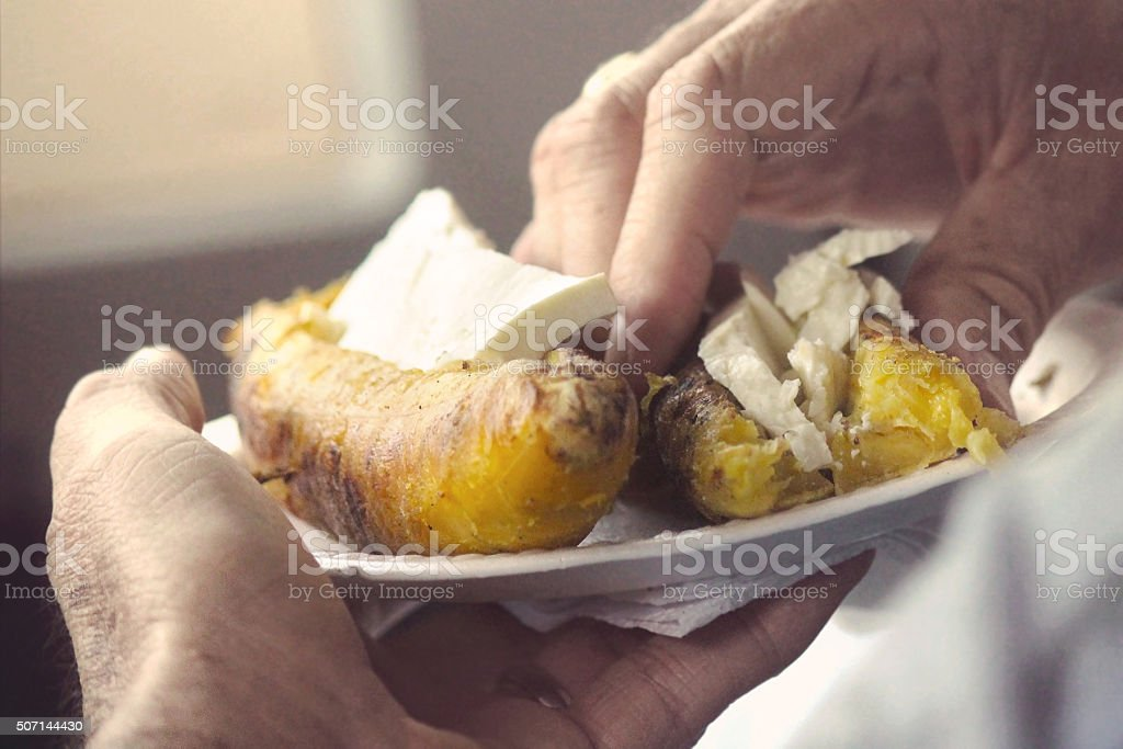 Grilled Plantains with Cheese stock photo