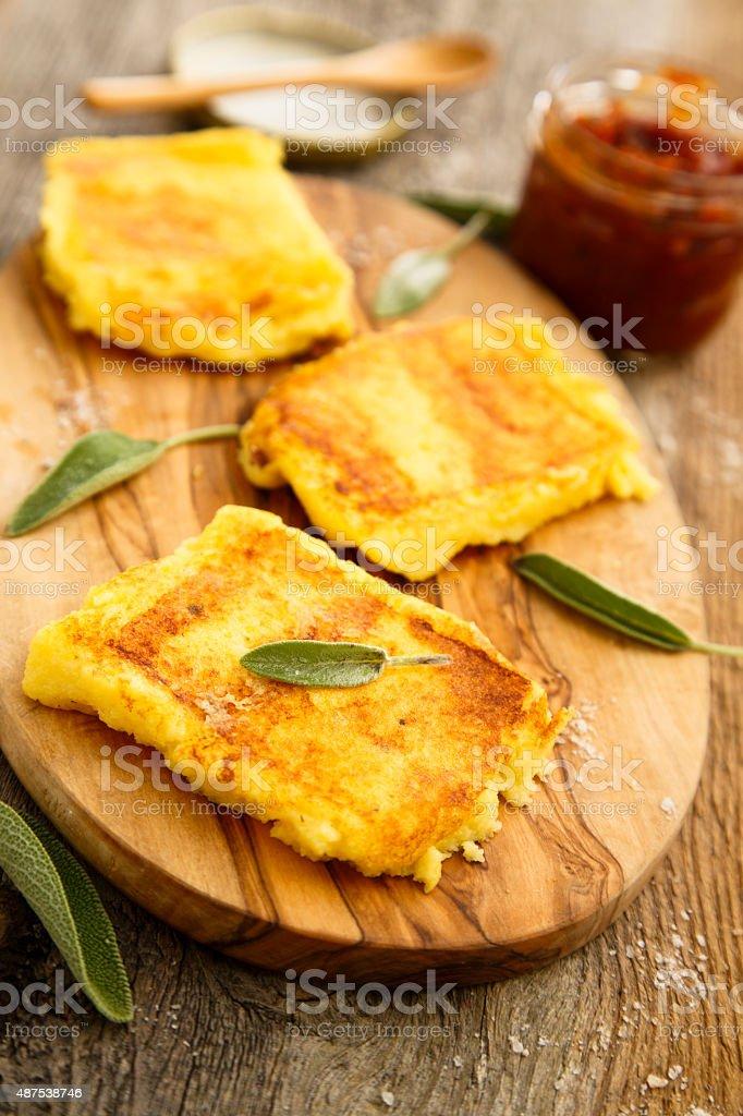 Grilled polenta stock photo