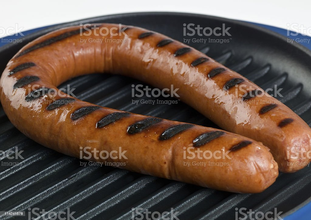 Grilled Polish Kielbasa sausage stock photo