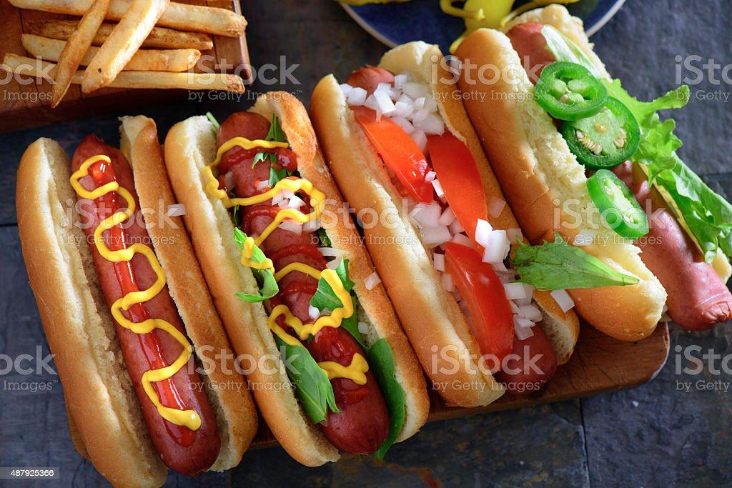 Grilled Polish Sausage Hot Dog stock photo