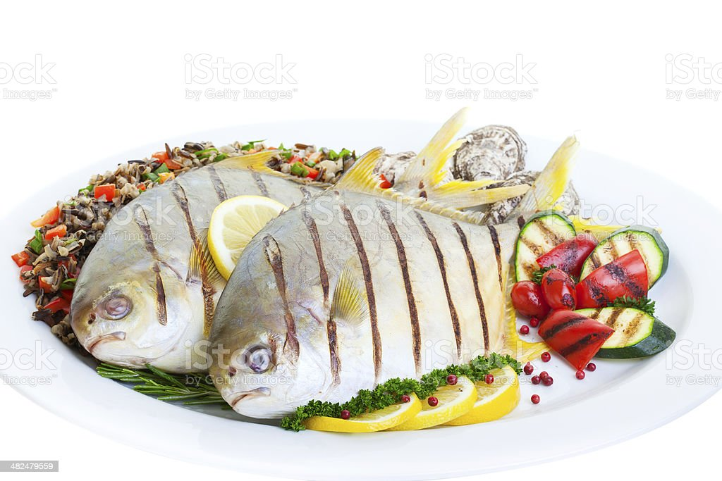 Grilled Pompano royalty-free stock photo