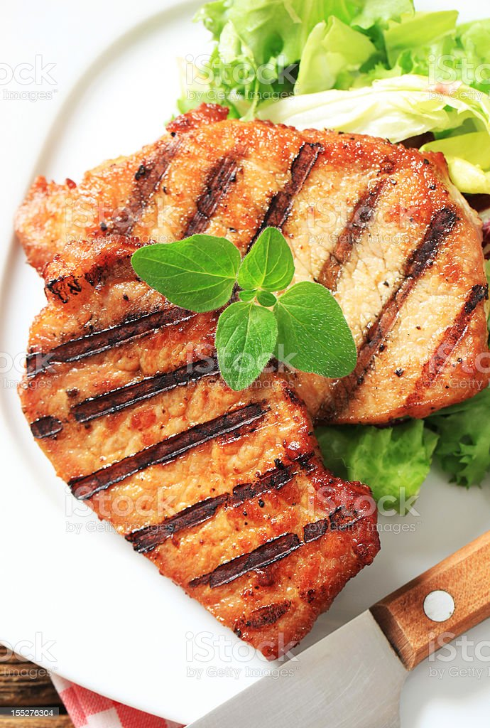 Grilled pork and fresh salad royalty-free stock photo