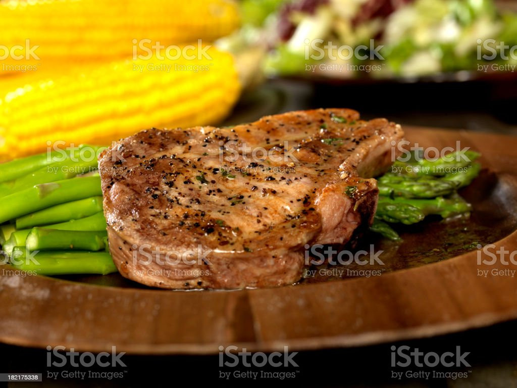 Grilled Pork Chop with Asparagus 2 stock photo