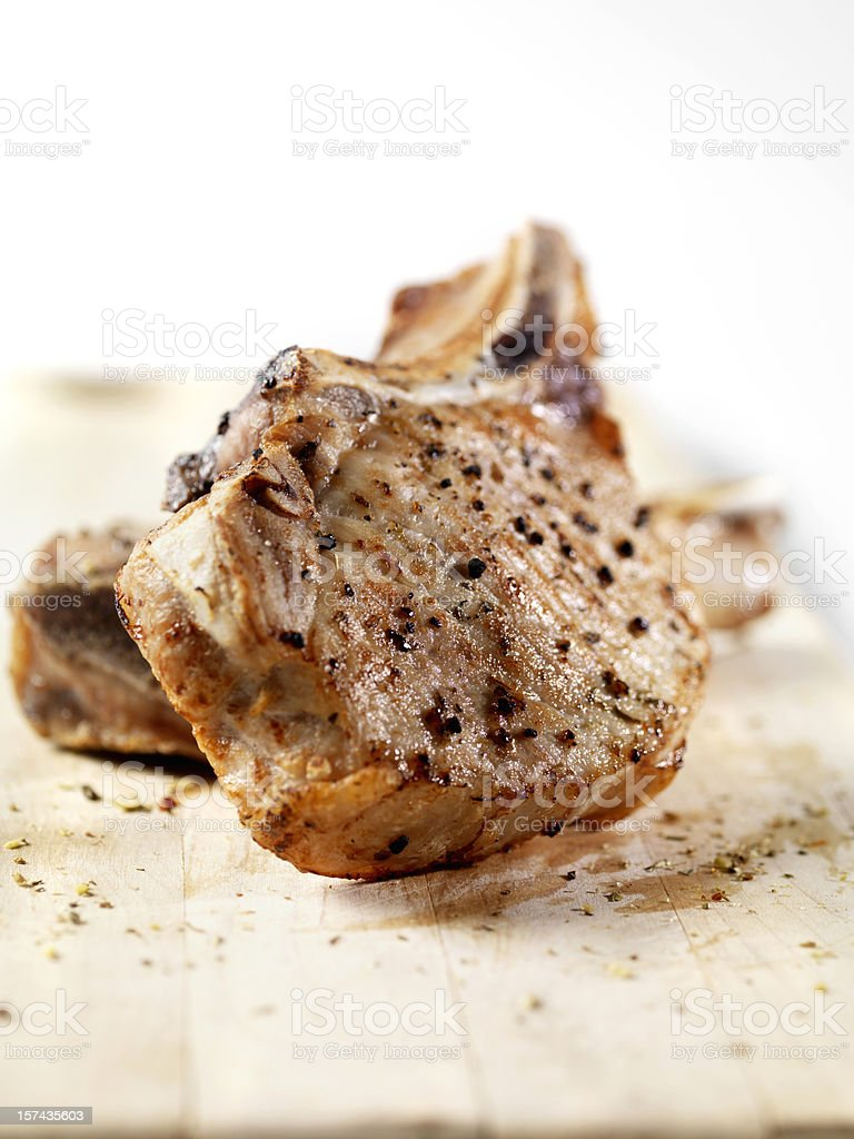 Grilled Pork Chops stock photo