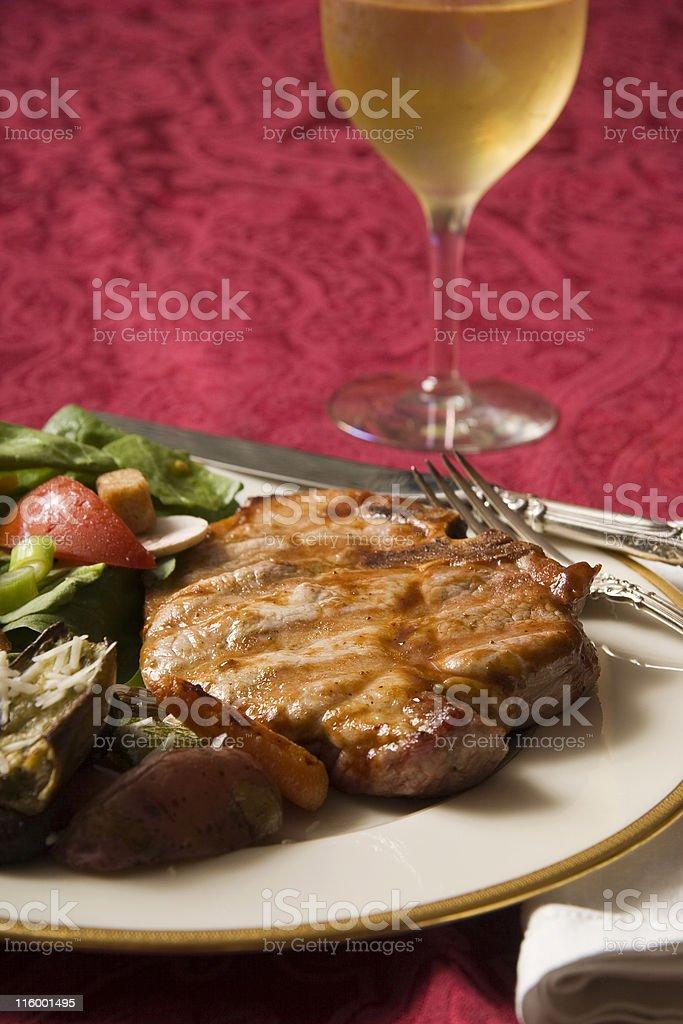 grilled pork dinner royalty-free stock photo