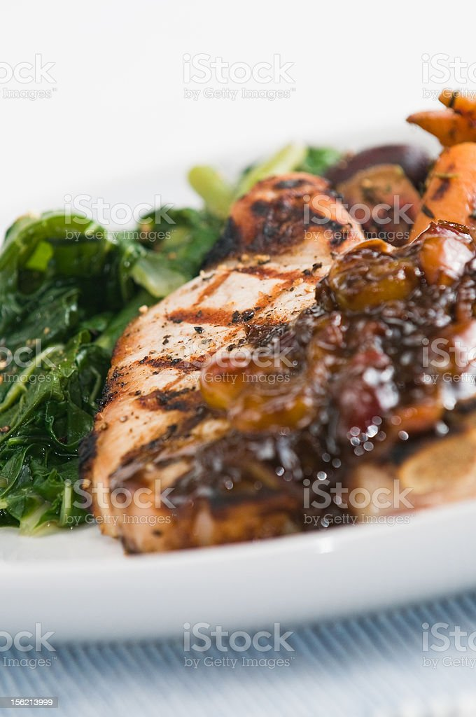 Grilled pork dinner stock photo