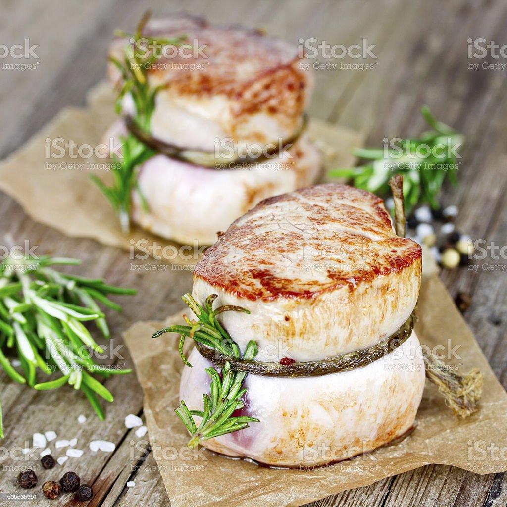 grilled pork fillet stock photo