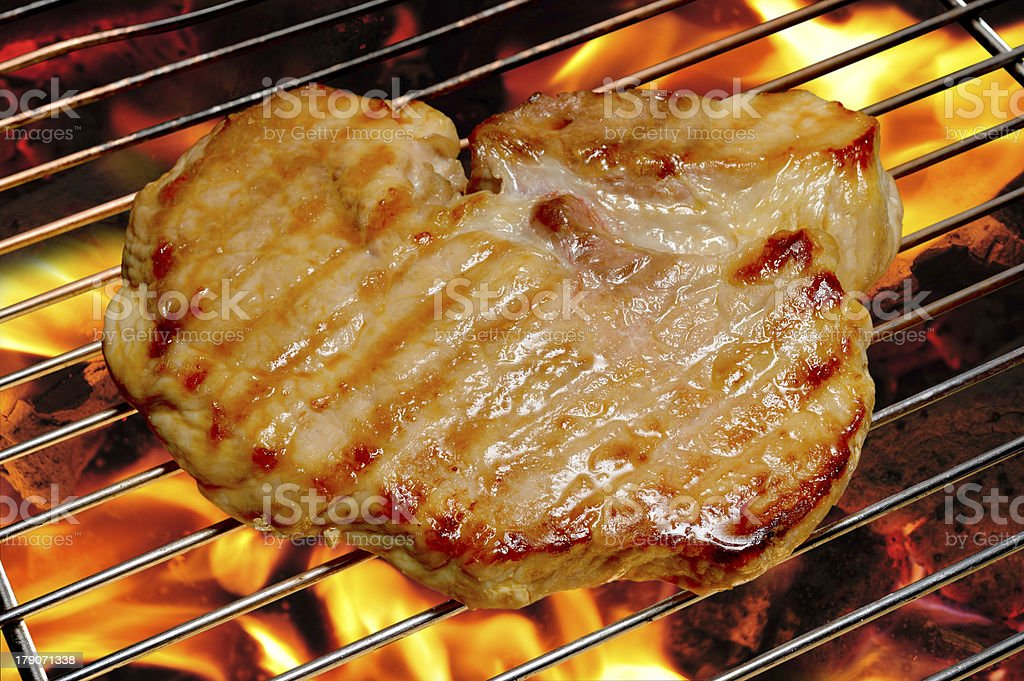 Grilled pork stock photo