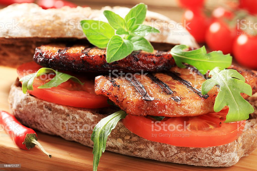 Grilled pork sandwich royalty-free stock photo
