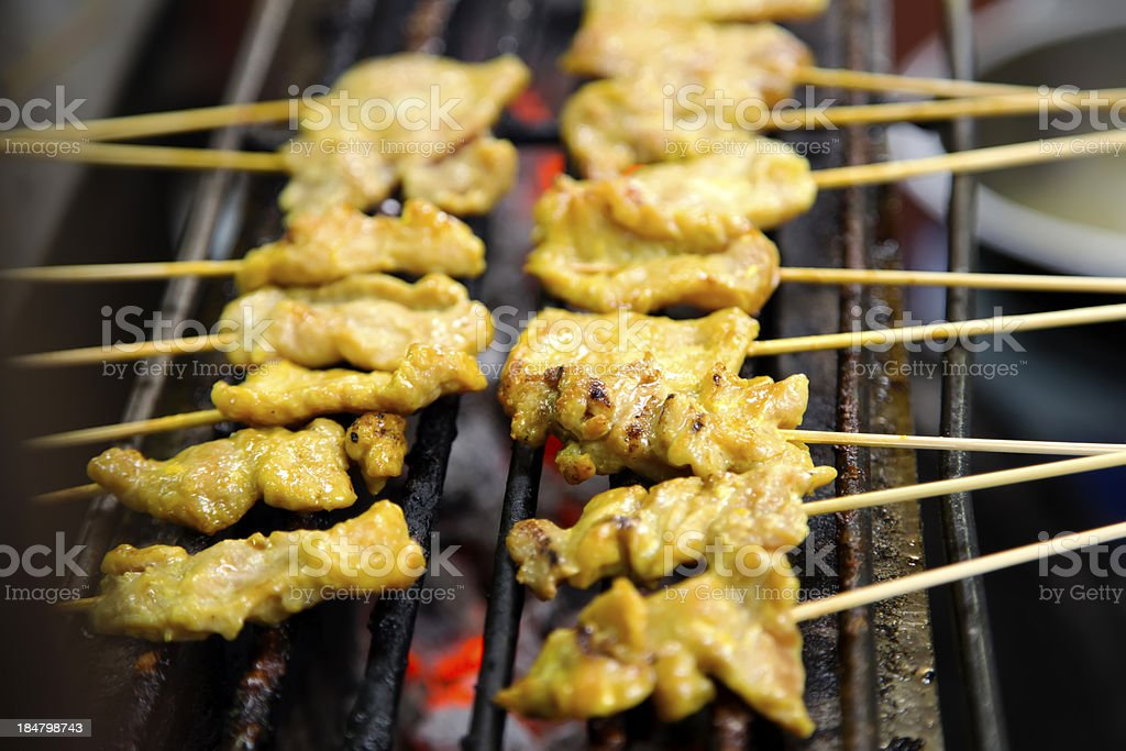 Grilled pork satay royalty-free stock photo
