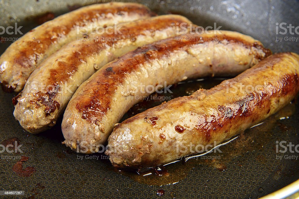 Grilled pork sausages stock photo