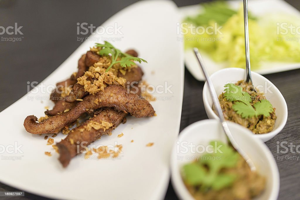 Grilled pork shoulder with chilli spicy sauce royalty-free stock photo