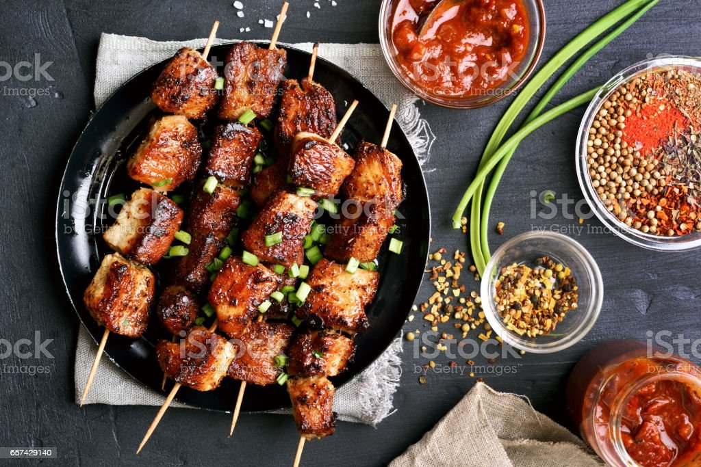 Grilled pork skewers stock photo
