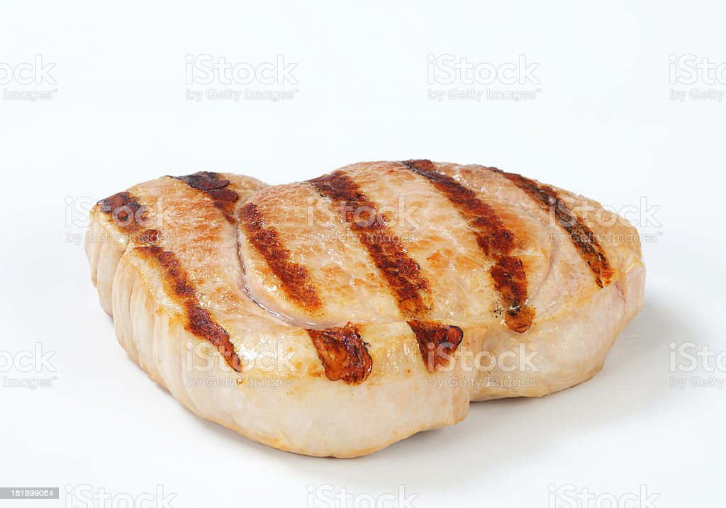grilled pork steak stock photo