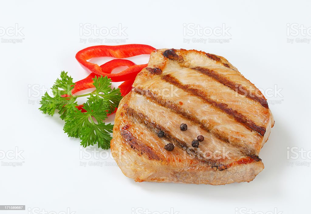 grilled pork steak with spices stock photo