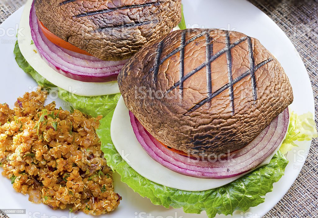 Grilled portabella burger. stock photo