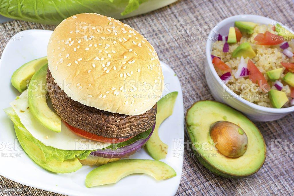 Grilled portabella burger. royalty-free stock photo