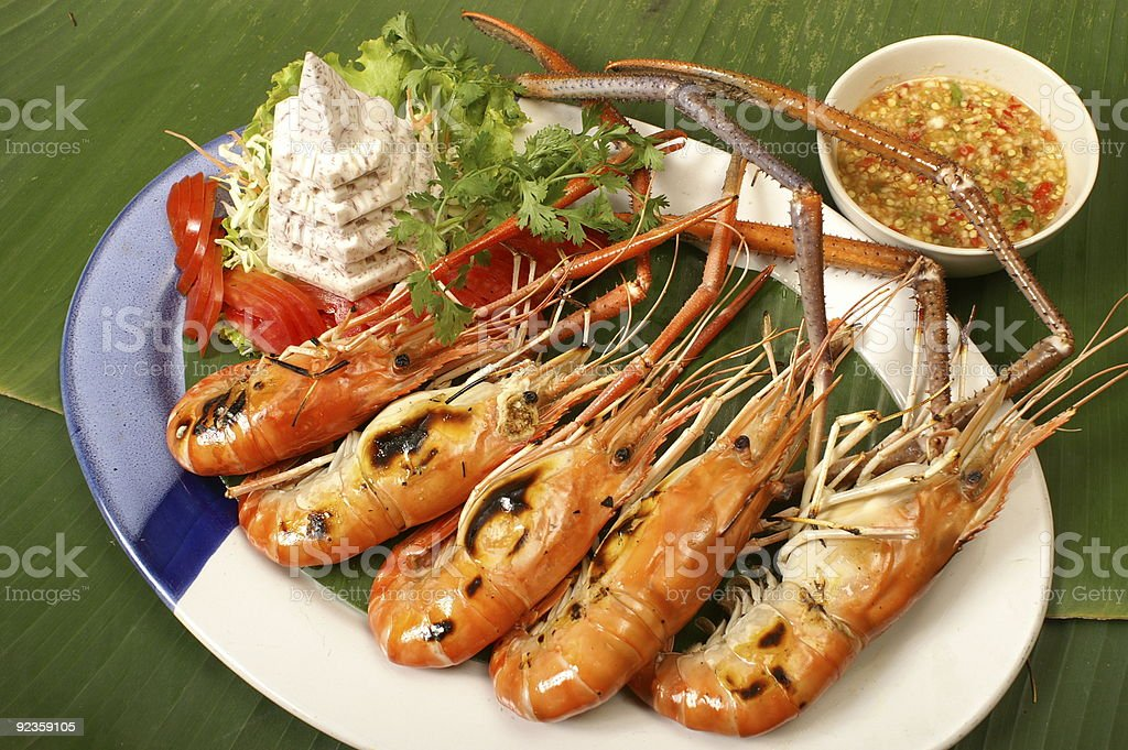 Grilled prawn royalty-free stock photo