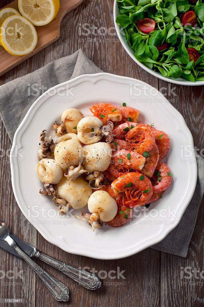 Grilled prawns and cuttlefish royalty-free stock photo