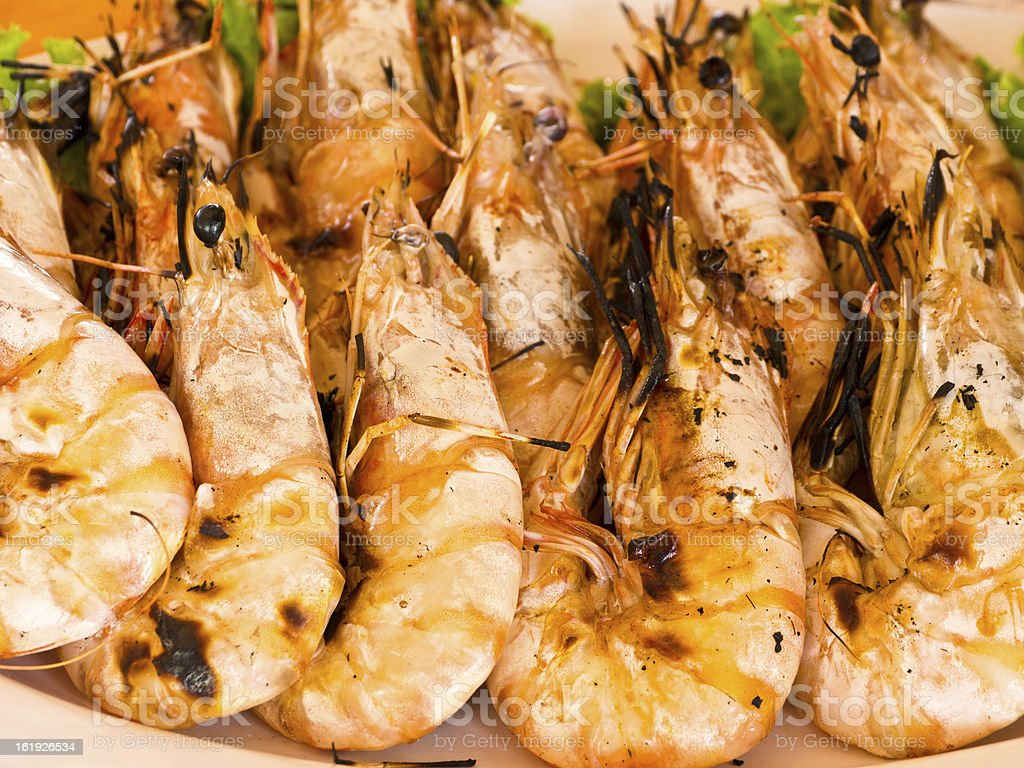 Grilled prawns royalty-free stock photo