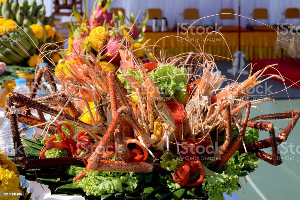 grilled prawns stock photo