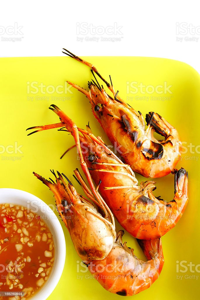 Grilled Prawns with Spicy Sauce royalty-free stock photo