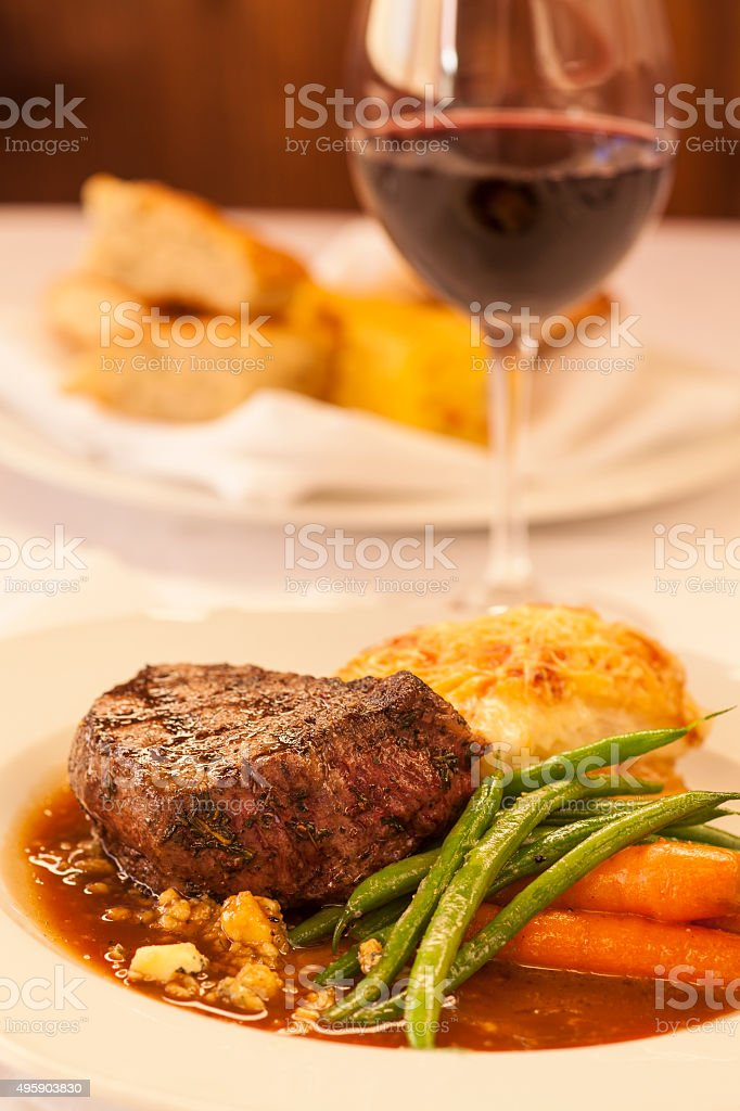 grilled prime filet with Stilton cheese-Port wine sauce stock photo