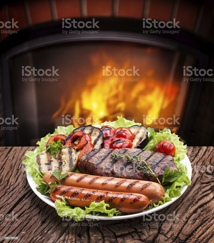 Grilled products. royalty-free stock photo