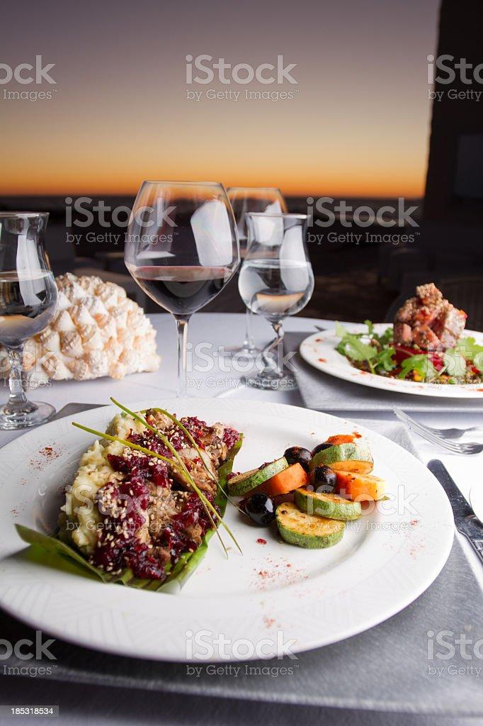 Grilled Rabbit Dinner stock photo