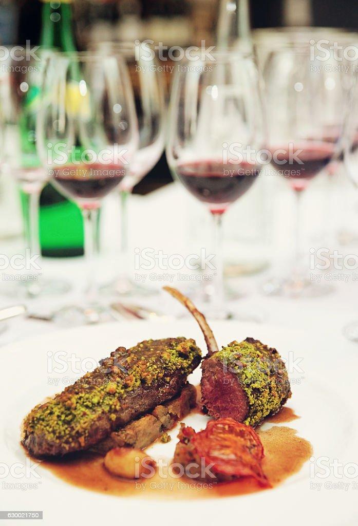 Grilled rack of lamb, english style dish stock photo