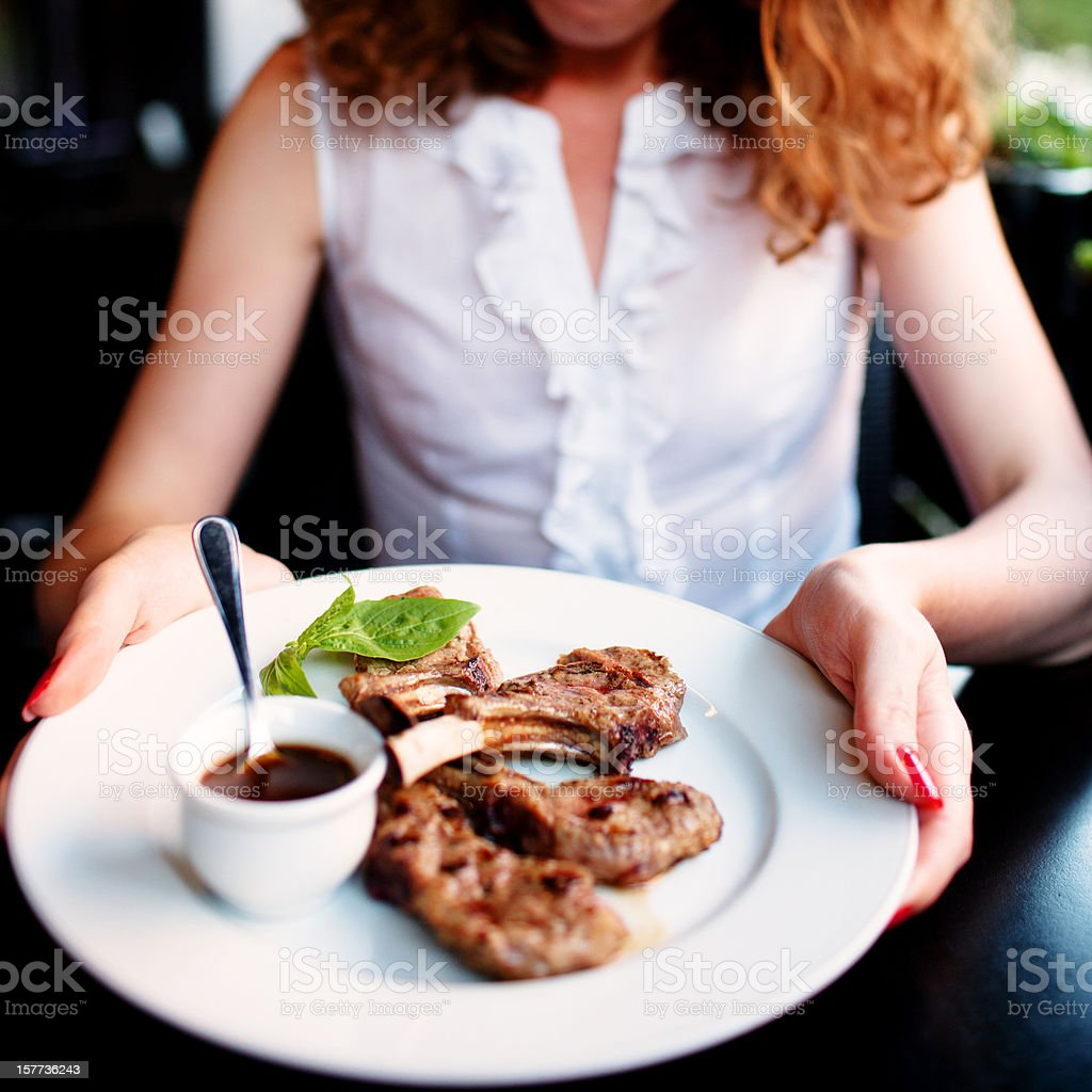 Grilled Rack of Lamb served with rosemary sauce royalty-free stock photo