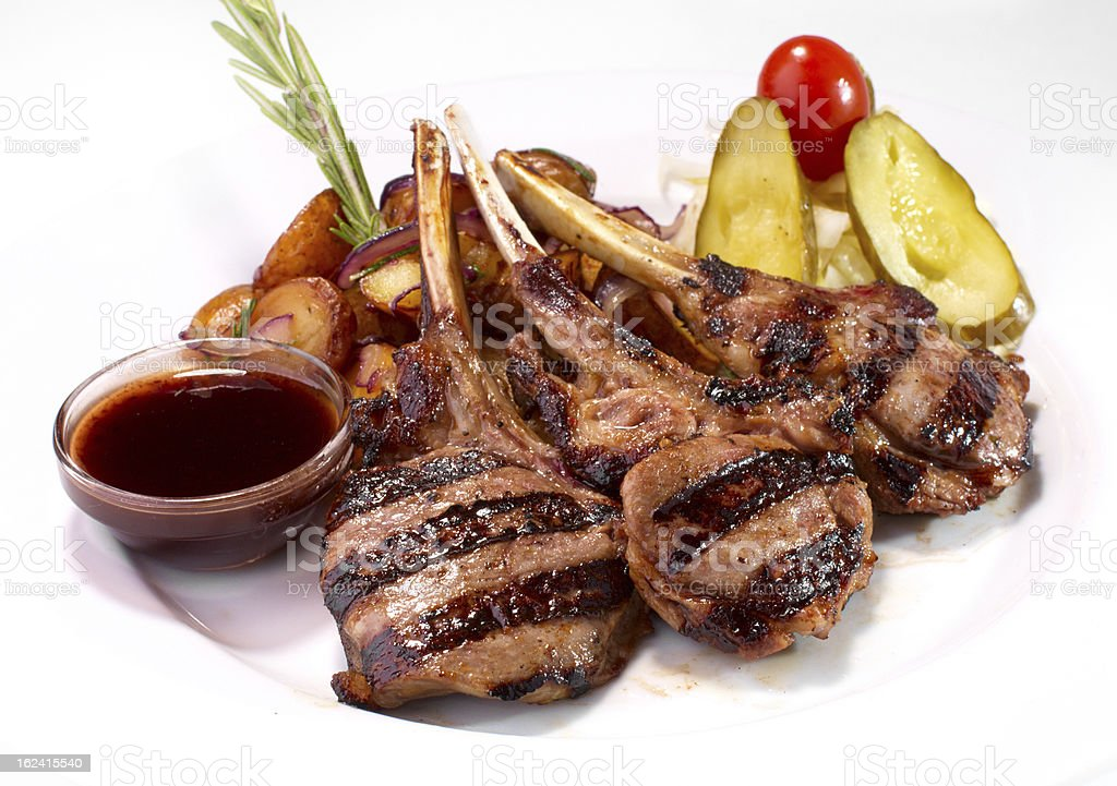 grilled rack of veal royalty-free stock photo