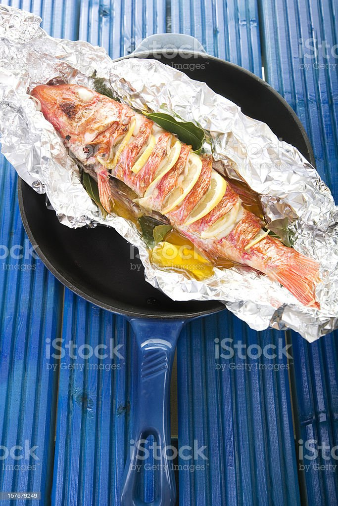 grilled red mullet stock photo