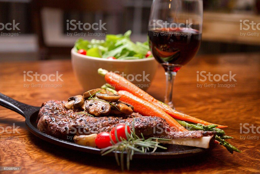 Grilled Rib Eye Steak Dinner stock photo