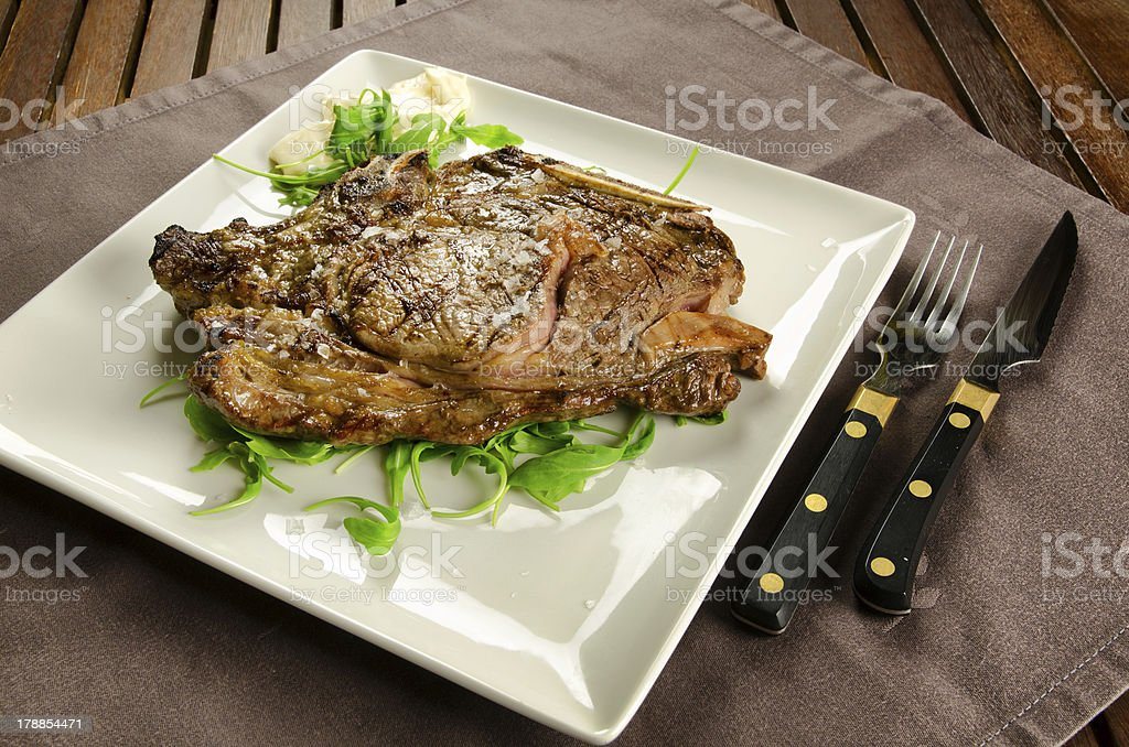 Grilled rib eye steak royalty-free stock photo