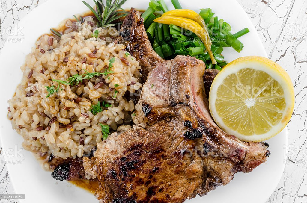 Grilled rib eye steak with integral rice stock photo
