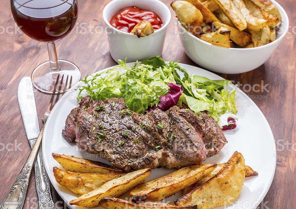 Grilled Rib-eye Beef Steak stock photo