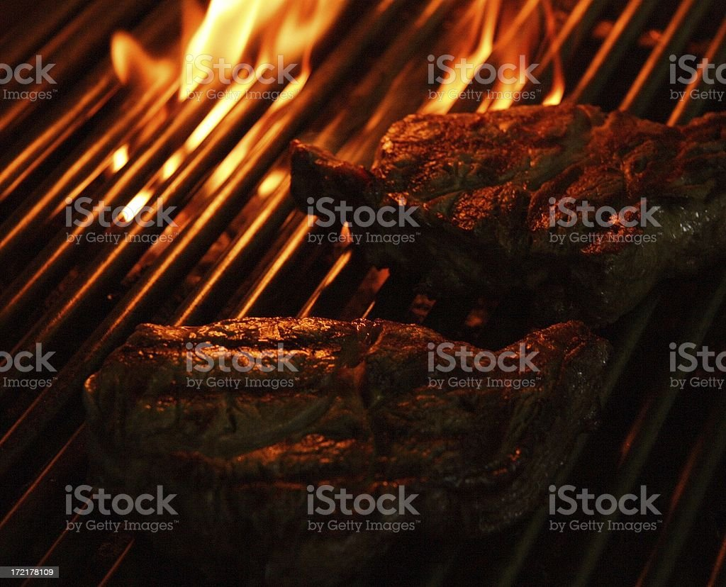 grilled Ribeye Steak - food, flame and fire royalty-free stock photo