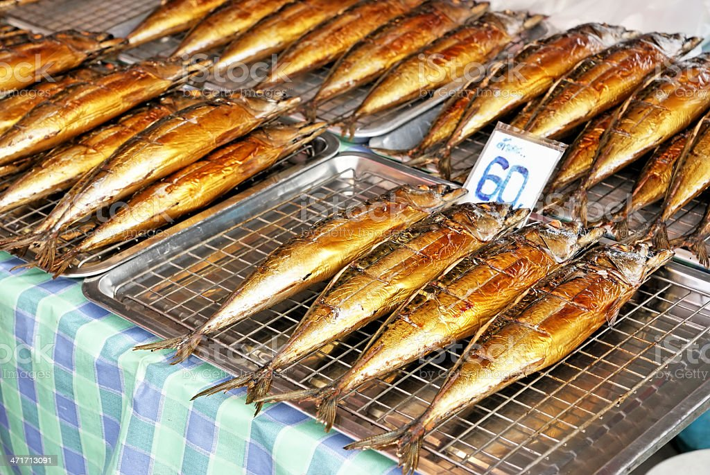 Grilled saba fishes royalty-free stock photo