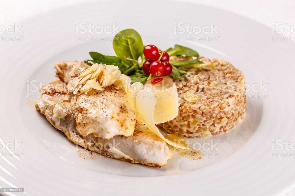 Grilled sablefish or butterfish stock photo