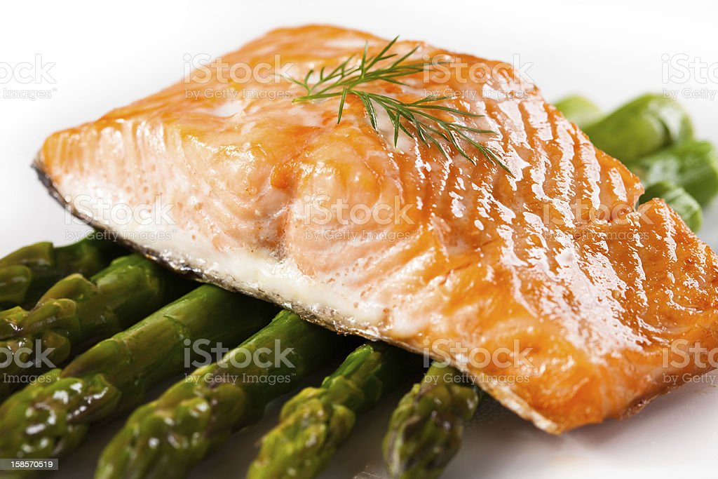 Grilled salmon and asparagus royalty-free stock photo