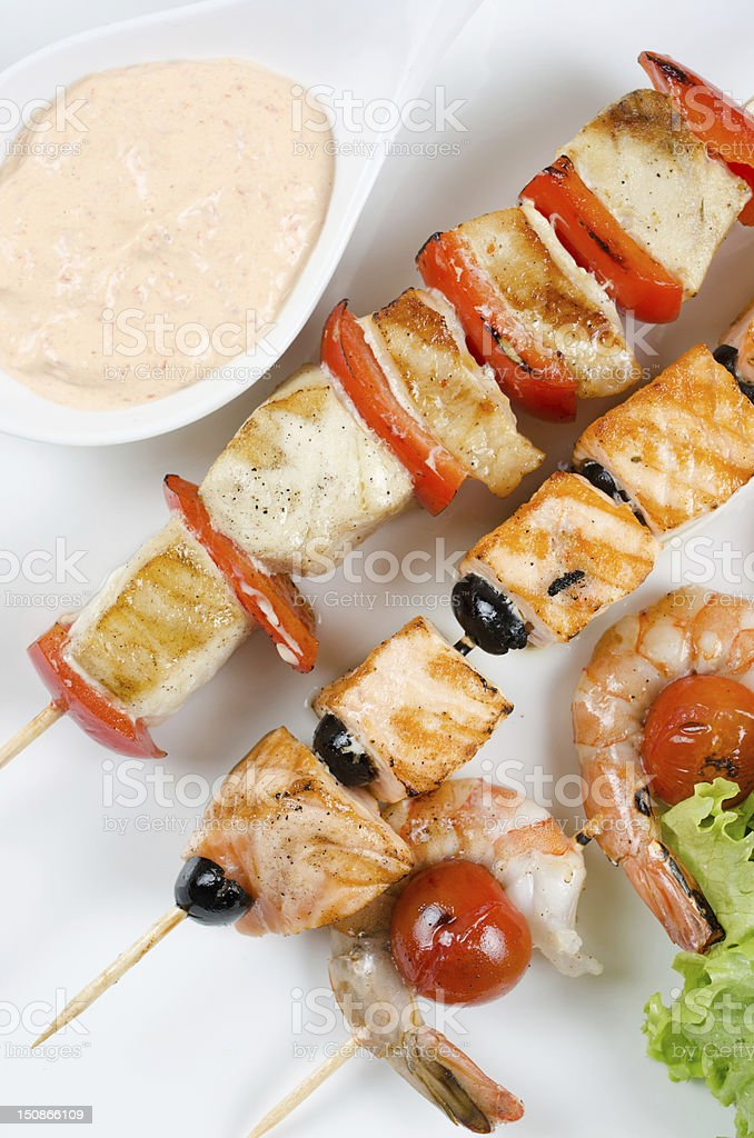 grilled salmon and shrimps royalty-free stock photo