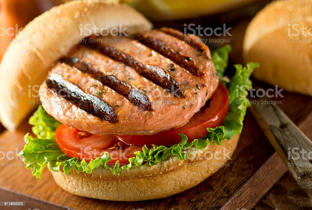 Grilled Salmon Burger stock photo