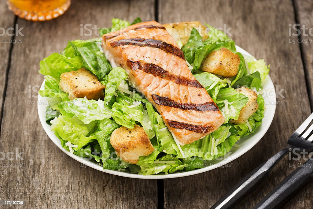 Grilled Salmon Caesar Salad stock photo