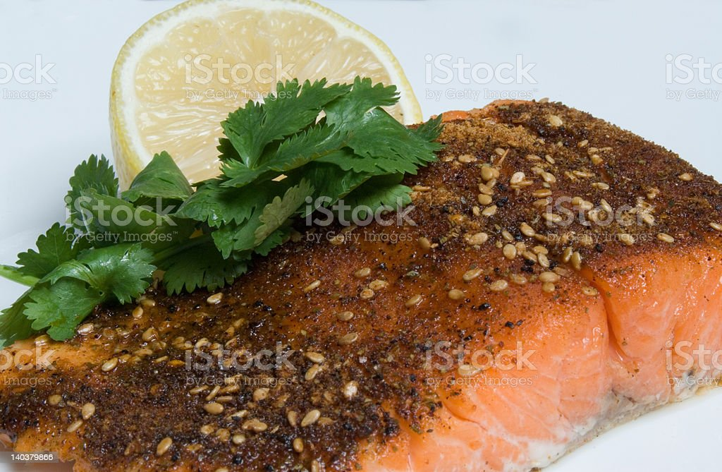 Grilled Salmon cajun spiced fillet with lemon and cilantro royalty-free stock photo