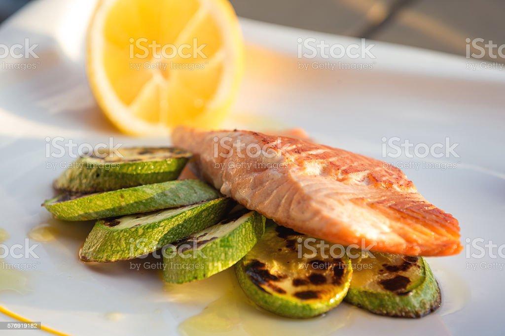 Grilled salmon eith zucchini stock photo